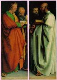 『四使徒』(1526年) 左から聖ヨハネ, 聖ペテロ,聖マルコ,聖パウロ